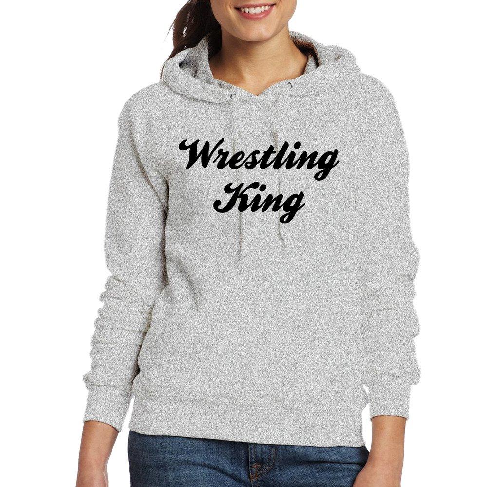 Women's Long Sleeve Cotton Hoodie Wrestling King SweatshirtAsh by xianwei