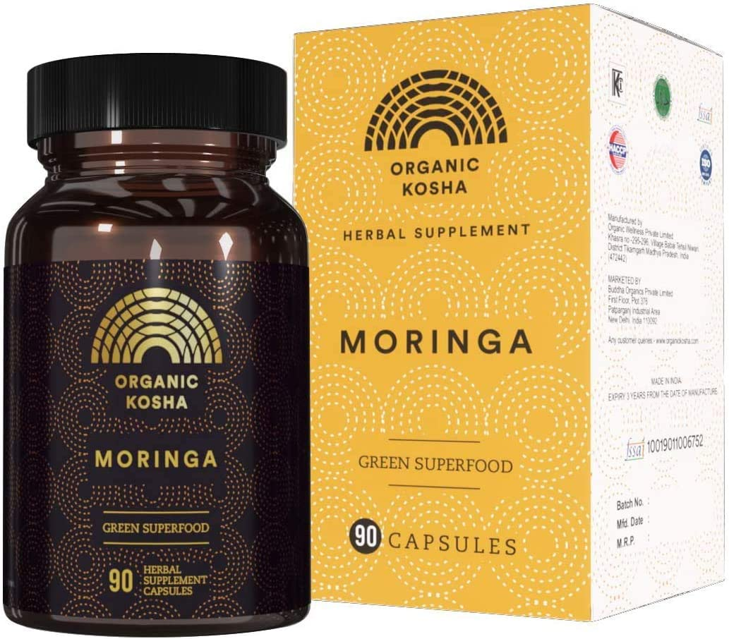 Organic Kosha Moringa Capsules | Forest Grown, High-Potency, Vegan, All-Natural Green Superfood Supplement | Nutritional Support and More