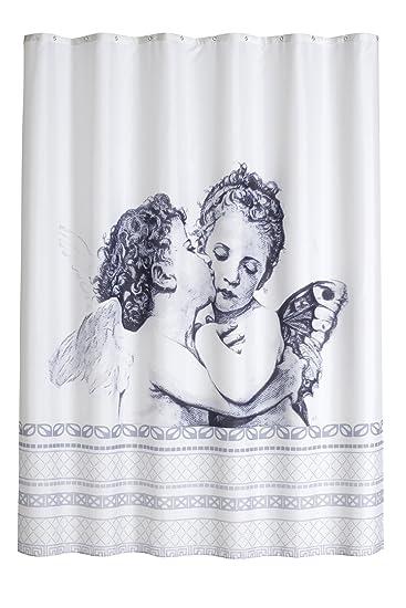 DUSCHVORHANG ANGEL 180cm Breit X 200cm Lang Textil Ohne Ringe Schwarz Grau  Weiß Engel Shower Curtain