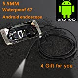 USB Endoscope, Borescope Inspection Camera 6 LED Adjustable 2.0MP CMOS Waterproof HD Camera,3.5M Snake Cable USB Adapter for Both Android Phone& Compute (2.5)