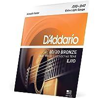 D'Addario EJ10 Cuerdas de Bronce para Guitarra acústica, Paquete de 3 (1-Extra Light, 10-47, 1 Unidad)