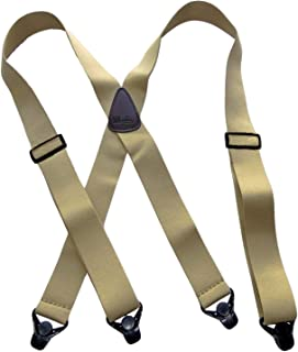 product image for Holdup Brand XL Big and tall man's No-buzz Airport Friendly TAN Suspenders with patented black strong plastic Gripper Clasps