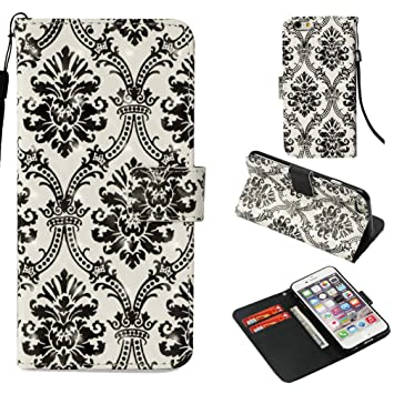 iPhone 6S Plus Case,Shock Absorbent Pu Leather Kickstand Wallet Case Inner Soft Silicone Bumper Full Cover Protective Flip Folio Shell Wrist Strap ...