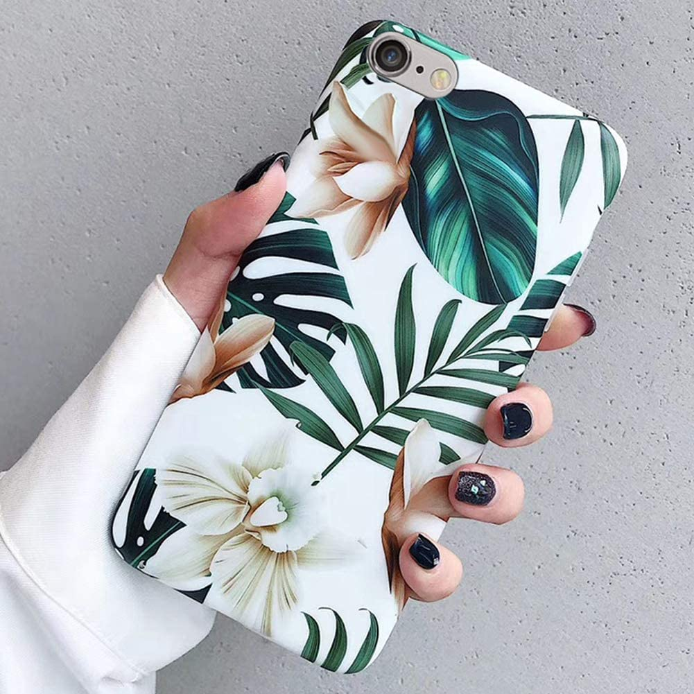 Case for iPhone 6S Plus/6 Plus,Cute Ultra Thin Girls Women Leaves Flowers Floral Pattern Design Flexible Soft Rubber Gel TPU Back Protective Case Cover for iPhone 6S Plus/6 Plus Silicone Case,White