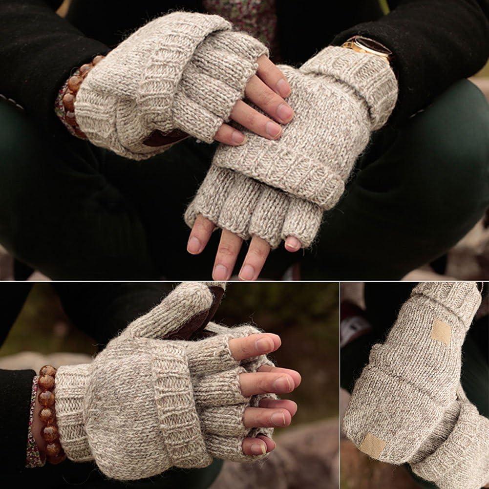 Schwarz Vbiger Winter Handschuhe Fingerlose F/äustlinge Damen Fingerhandschuhe Fingerlos Halb Handschuhe Strick Handschuhe mit Flip Top Einheitsgr/ö/ße