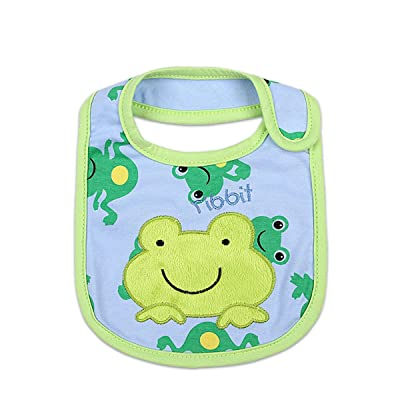 Lovely Cartoon Pattern Baby Cotton Drool Bibs with Magic Stick for Babies and Toddlers (Frog) : Baby