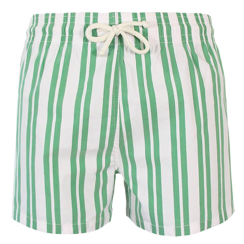 Les loulous de la plage Badeshort und Badehose Herren grün und weiß - John