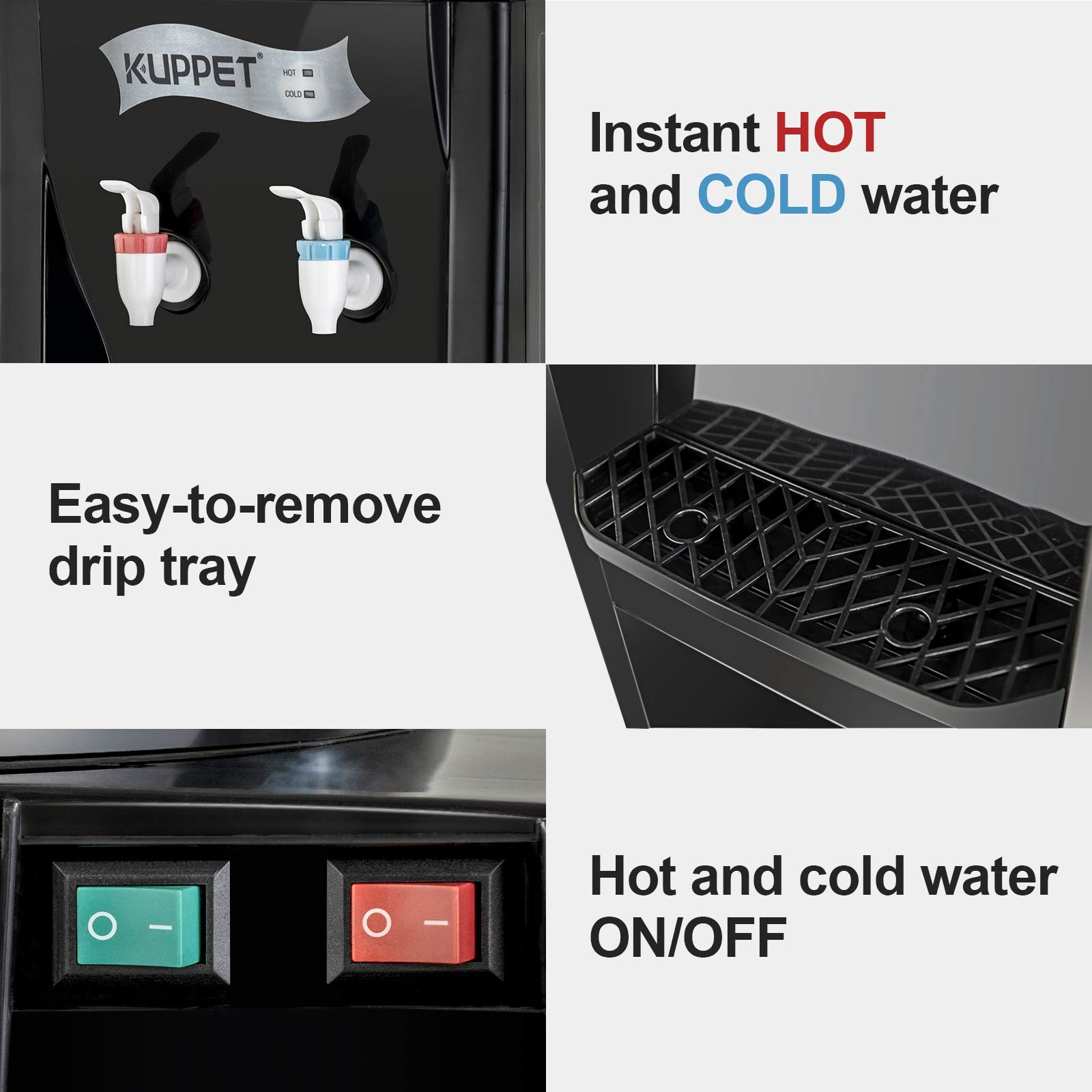 KUPPET Water Cooler Dispenser-Top Loading Freestanding Water Dispenser with Storage Cabinet, 5 Gallon, Two Temperature Settings-Hot(185℉-203℉), Normal Temperature(50℉-59℉), BLACK(32'', Black) by KUPPET (Image #4)