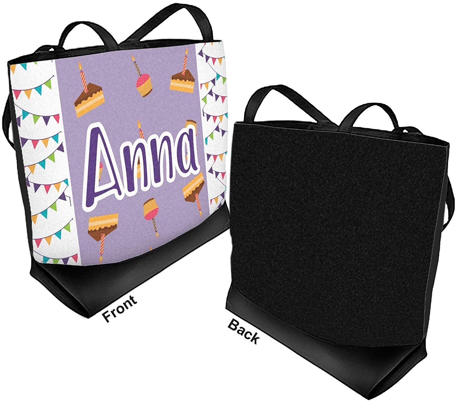 Happy Birthday Beach Tote Bag Front Personalized Regular