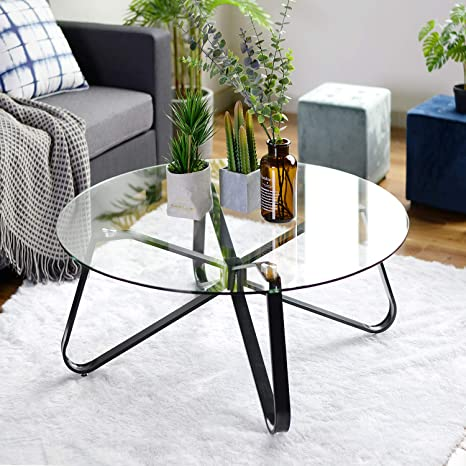 Amazon Com Round Coffee Table For Living Room 31 5 Inch Modern Sofa Side End Table With Tempered Glass Top Metal Legs Accent Cocktail Tea Table Easy Assembly And Clean 31 5 X 31 5 X