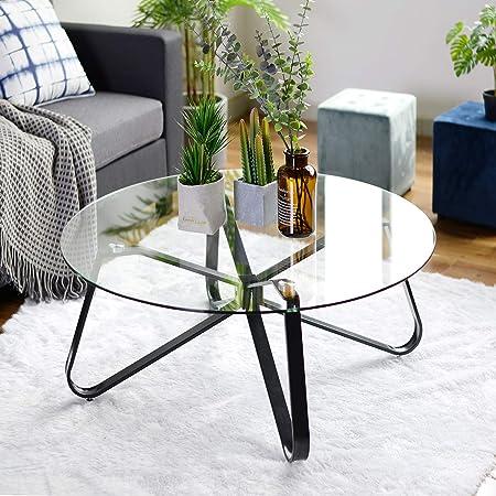 Oferta amazon: Mesa de café redonda de cristal templado, mesa de sofá minimalista nórdica mesa auxiliar moderna, mesa auxiliar con base de hierro negro para el hogar sala de estar, patio jardín 80 x 80 x 40 cm