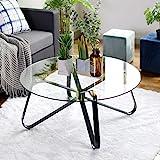 FurnitureR Mesa de centro redonda de vidrio templado, mesa de sofá minimalista nórdica, mesa auxiliar moderna, mesa auxiliar