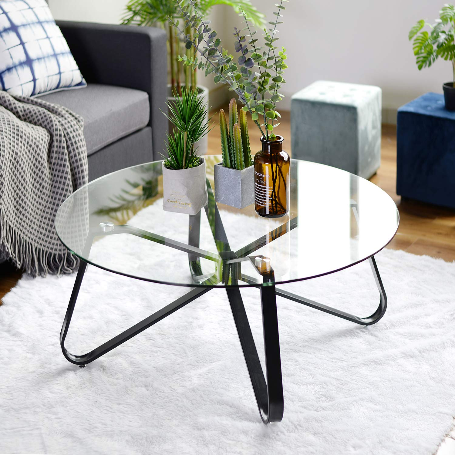 Round Tempered Glass Coffee Table Nordic Minimalist Sofa Table Modern Side Table End Table With Iron Black Base For Home Living Room Patio Garden 80cm 80cm 40cm Buy Online In Cayman Islands At Cayman Desertcart Com Productid