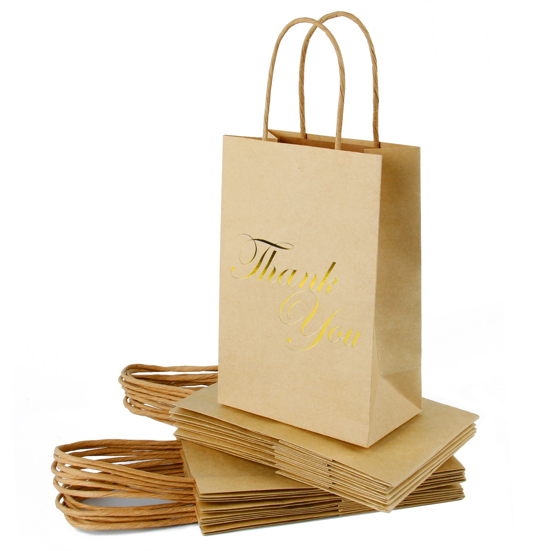 RUSPEPA Medium Kraft Gift Bags -Thank You Gold Foil Kraft Paper Gift Bag Set for Express Gratitude-12Pack -5-1/2'' X 3-1/4'' X 8-3/8''