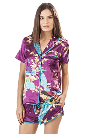 Ashford   Brooks Women s Satin Short Sleeve Pajama Shorts Set - Peacock  Grape - Large 81d069496