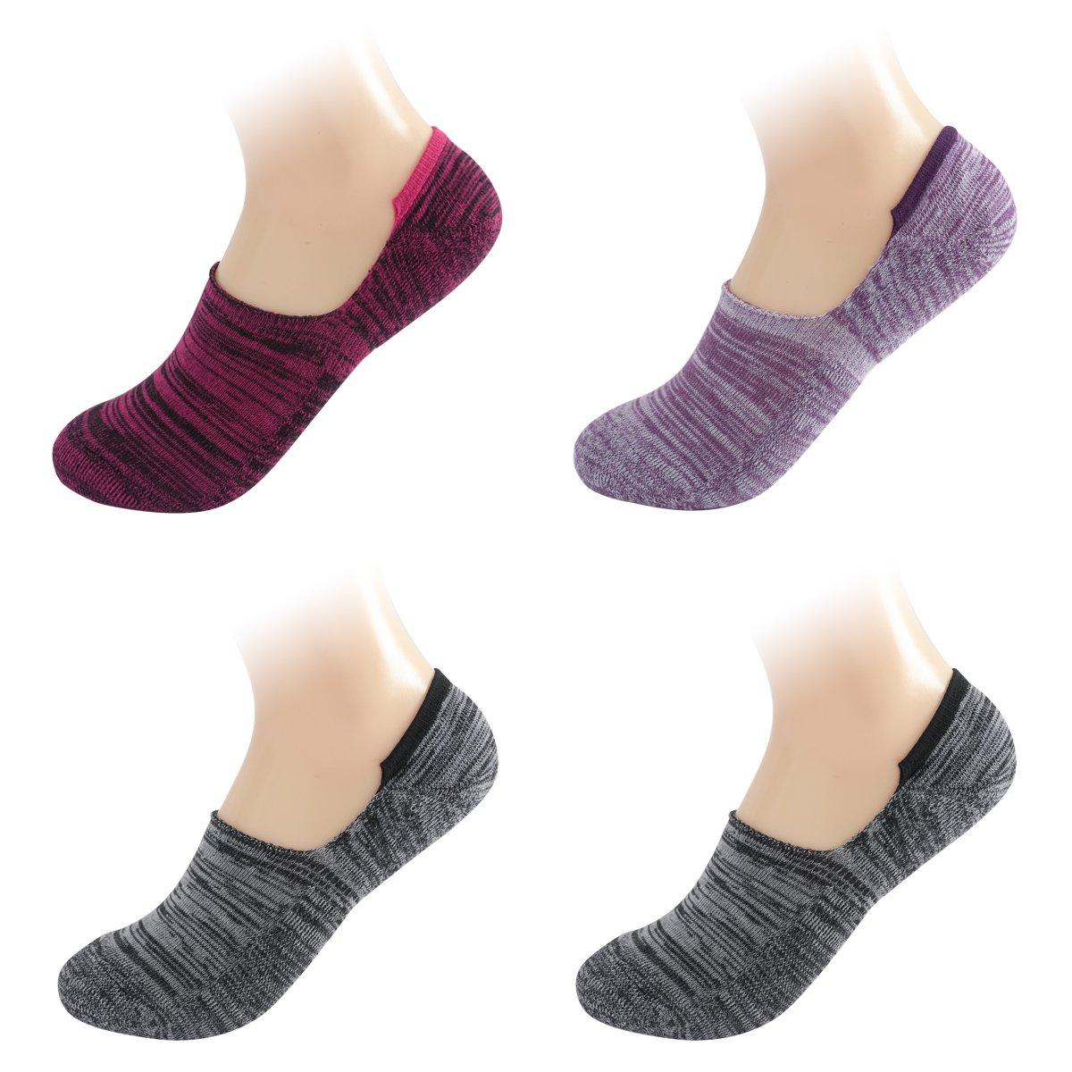 Keewen Women's Low Cut No Show Cushion Sport Running Liner Socks, Non-Slip. (4pp) CWL019CC