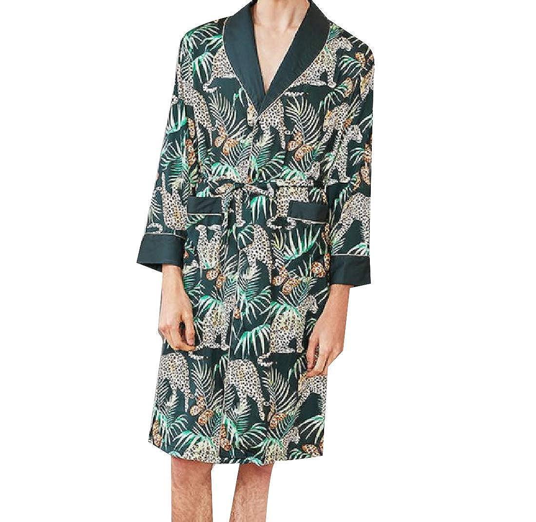 Abetteric Mens Floral Printed Charmeuse Silky Bathrobe Mid-Long Lounge Robe