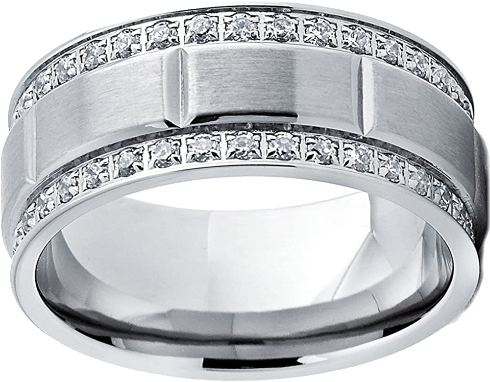 9MM 8 to 12 Comfort Fit Sizes Metal Masters Co Mens Titanium Wedding Band Ring with Double Row Cubic Zirconia