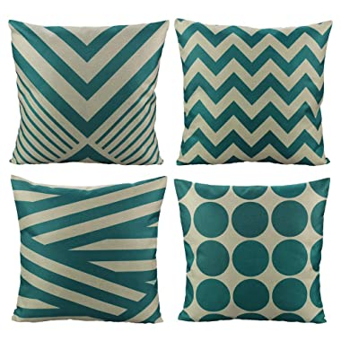 All Smiles Teal Throw Pillow Covers Cases Decorative Turquoise Cushion Pillowcases 18x18 Cotton Linen Square for Home Decor Sofa Couch Bed,Set of 4