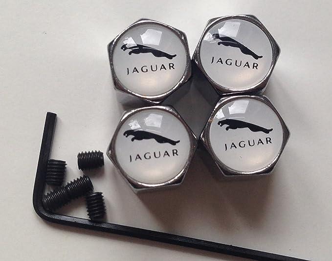 Chromfarbene Anti Diebstahl Ventilkappen Für Alufelgen Reifen Ventilkappen Staubschutz Weiß Jaguar Logo Auto