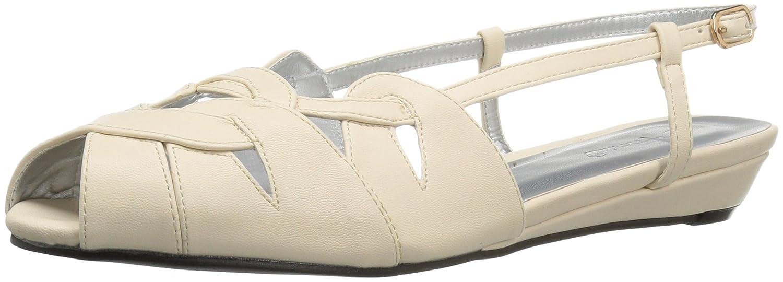 Annie Shoes Women's Kim Wide Calf Wedge Sandal B01GKECFNE 12 W US|Nude