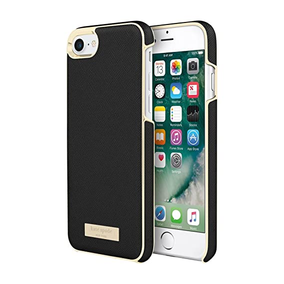 best sneakers 61ec9 154bc Incipio Apple iPhone 7/8 Kate Spade New York Wrap Case - Saffiano  Black/Gold Logo Plate