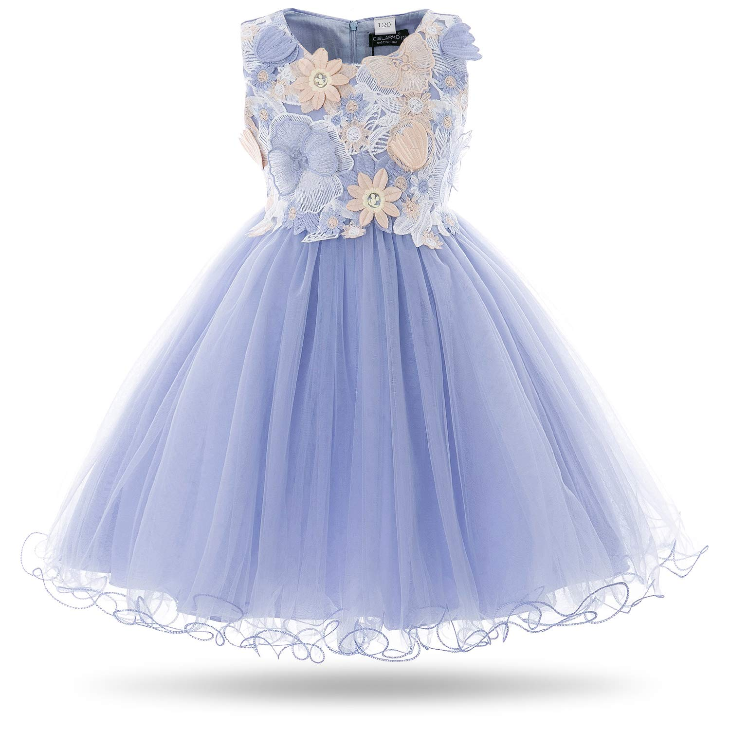 66f25a73ab Amazon.com  CIELARKO Girls Dress Kids Flower Lace Party Wedding Dresses for  2-11 Years  Clothing