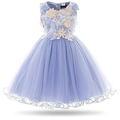 0e3f6ce170 CIELARKO Girls Dress Kids Flower Lace Party Wedding Dresses (2-3 Years, Blue