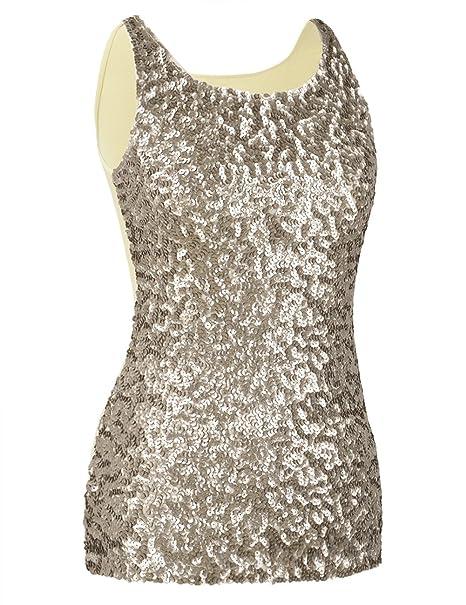 d5b219c73b1 kayamiya Women s 1920S Style Glitter Sequined Vest Tank Tops XS Champagne