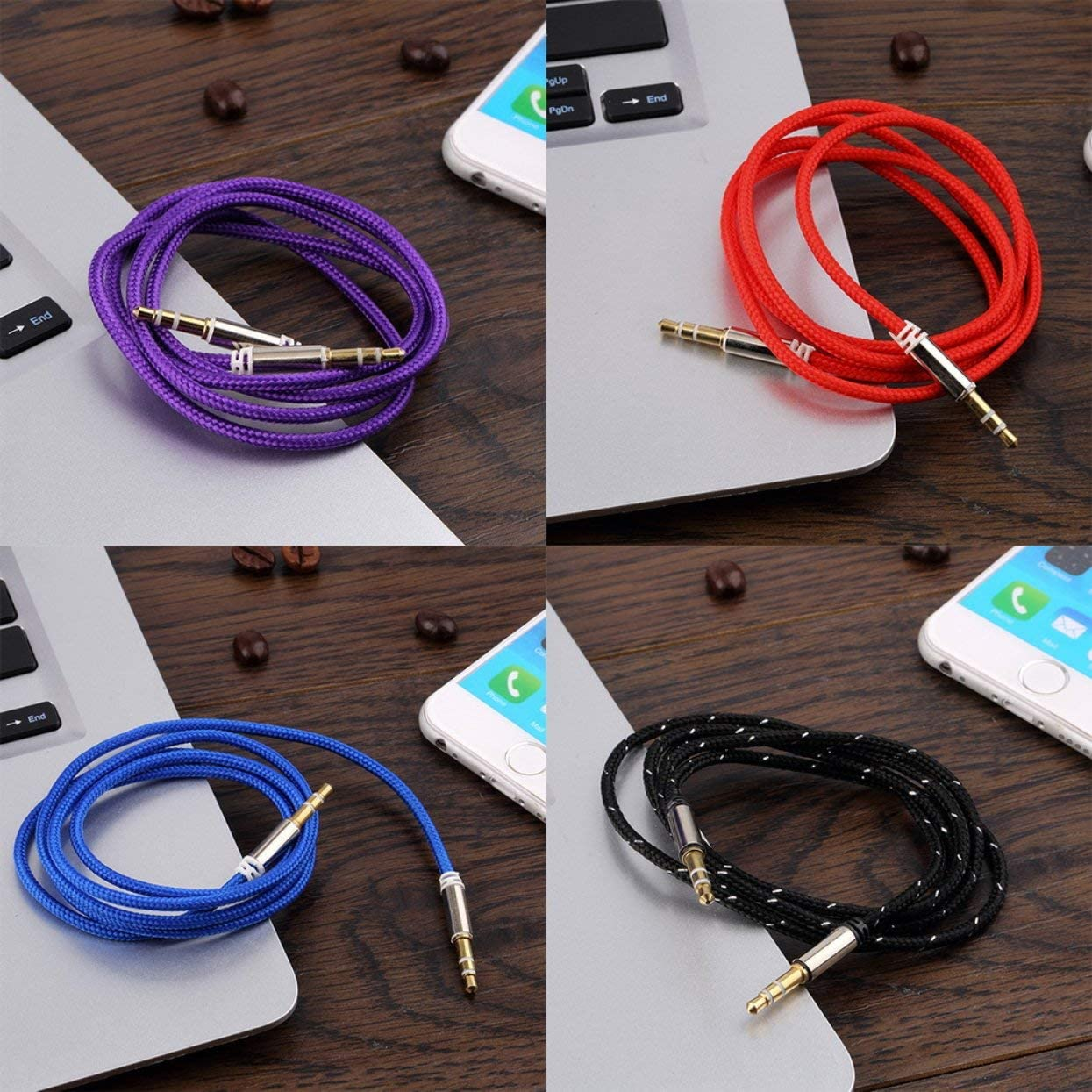 Metal Easy to use Plug and Play Detectorcatty 1m Braided Woven 3.5mm Male to Male AUX o Headphone Cord Cable Nylon Blend