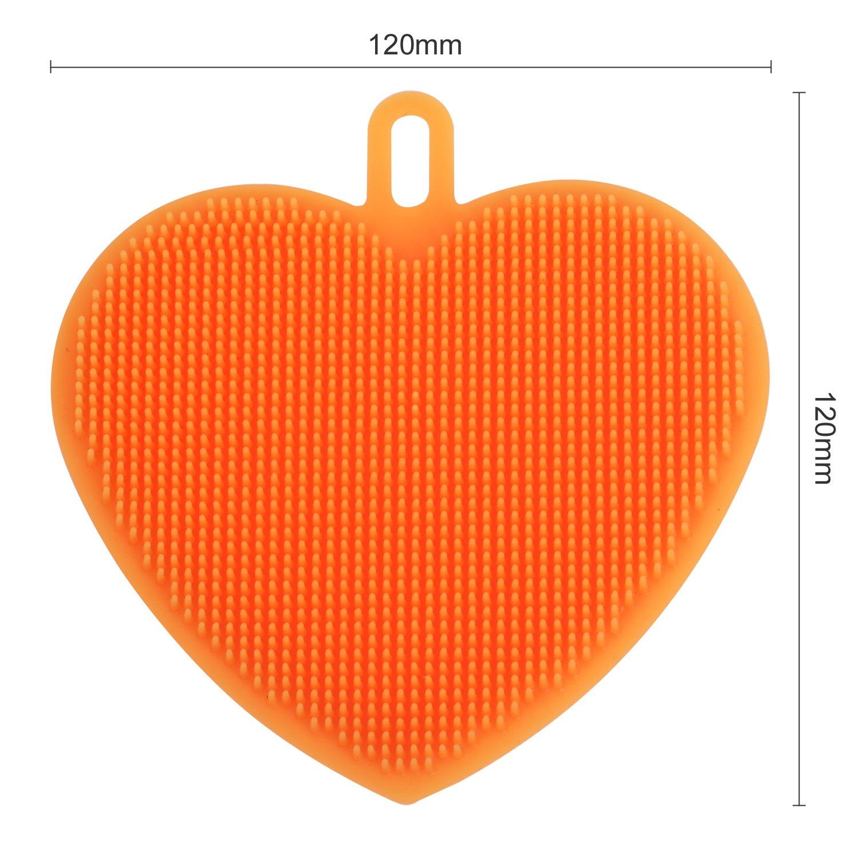la Pulizia della Cucina per Il Bagno TRIXES Confezione da 3 Spugnette Multiuso in Silicone a Forma di Cuore la Cura della Pelle
