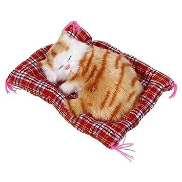 1pcs gato de peluche super mini cute cat juguetes simulación dormir gatos juguetes de peluche con sonido, Amarillo: Amazon.es: Hogar