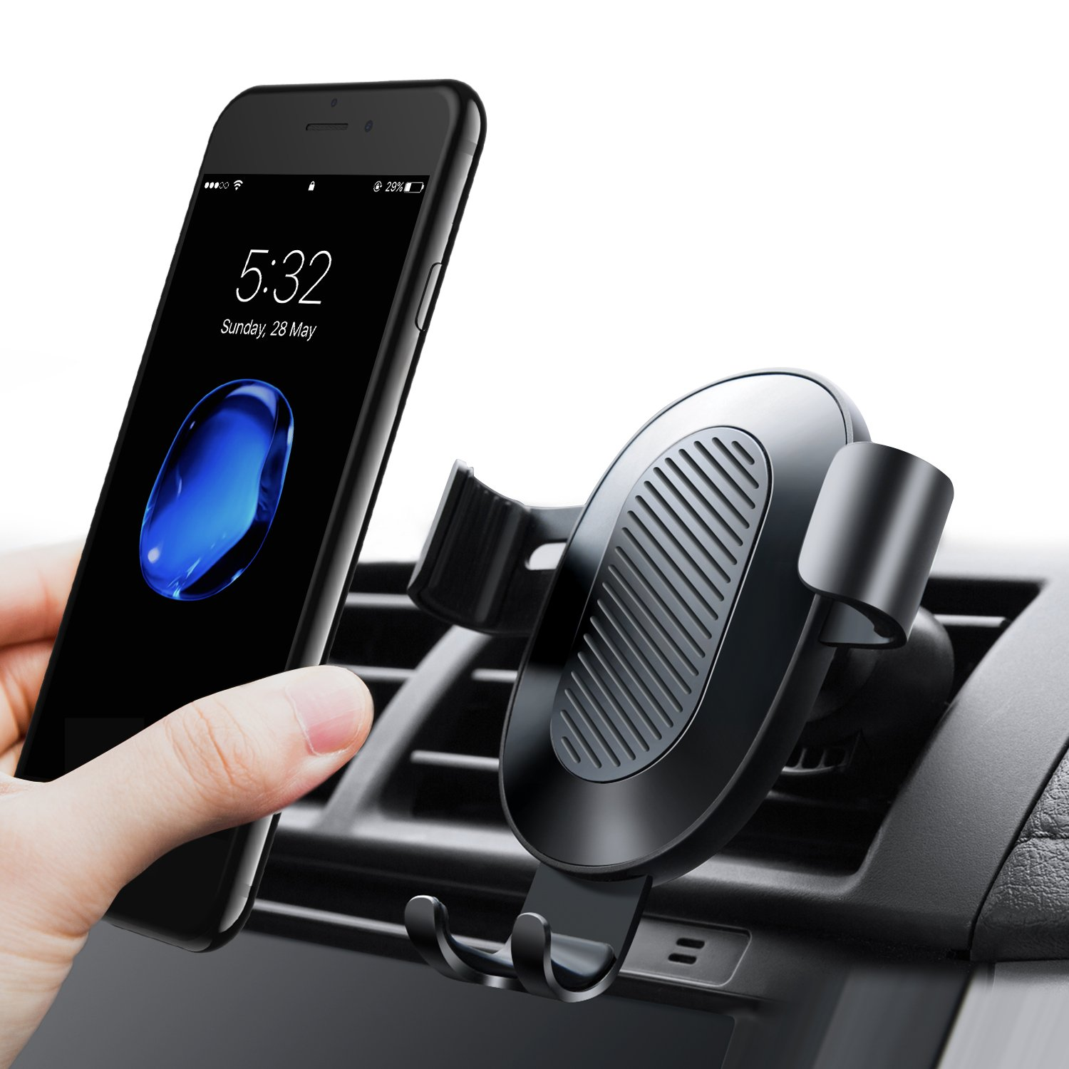 TORRAS Cell Phone Holder for Car, Gravity Auto-clamping Air Vent Car Phone Mount Holder Cradle for iPhone X / 8/8 Plus / 7/7 Plus Samsung Galaxy S9 / S9 Plus / S8 / S8 Plus and more – Black by TORRAS (Image #1)