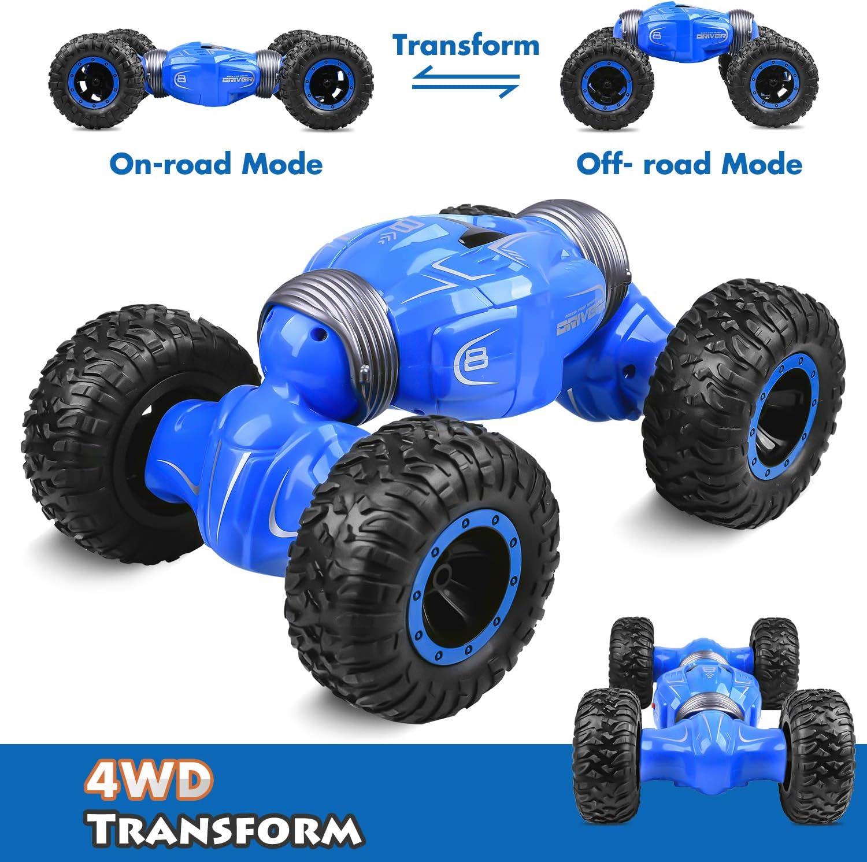 Longruner RC Coche Teledirigido Stunt Toy Car 4WD with Doble Lado Rotación de Rock Climber Grados de Alta Velocidad 1:16 2.4GHz Radiocontrol Control Remoto Camión Off Road Truck Coches para Niños LQ70