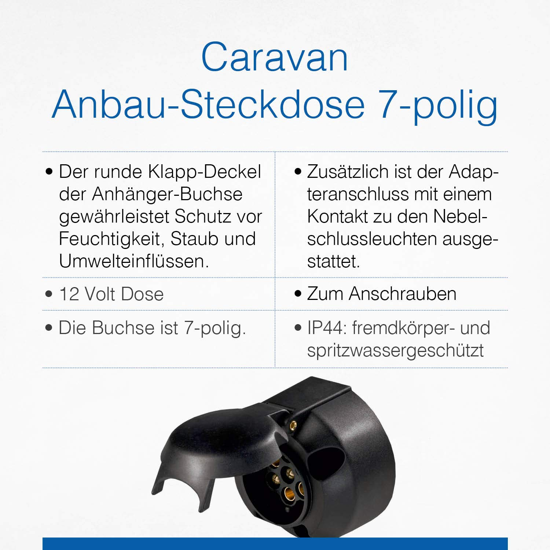 Schwabe 61473 Car Trailer 7-pin Heavy-Duty Round Socket for 12V towbar as Black