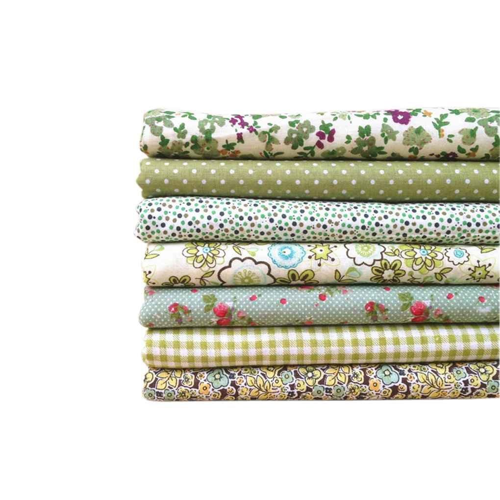 meisijia Il tessuto verde della serie 7pcs / set incunea il tessuto stampato del tessuto del cotone del fiore che impacca il tessuto 50x50cm # 17