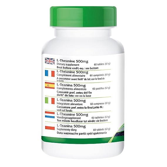 L-teanina 500 mg - para 2 meses - VEGANO - Alta dosificación - 60 comprimidos - aminoácido: Amazon.es: Salud y cuidado personal