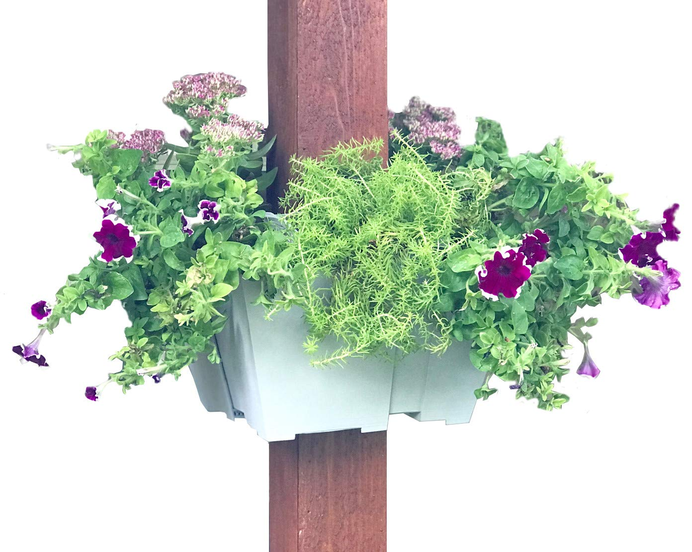 El Patio Post Planter: Square Hanging Planter for Flowers and Herbs Adjusts from 12'' to 14''. Commercial Grade Outdoor Vertical Container Garden for Porches, Patios, Pergolas & More. Made in the U.S.A.