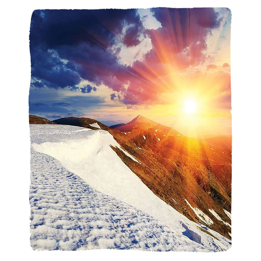 VROSELV Custom Blanket Dorm Room Boho Sunshine Clouds Nature Mountain and Valley Sun Living Room Girls Divider in College Dorm Landscape Home White Blue Yellow