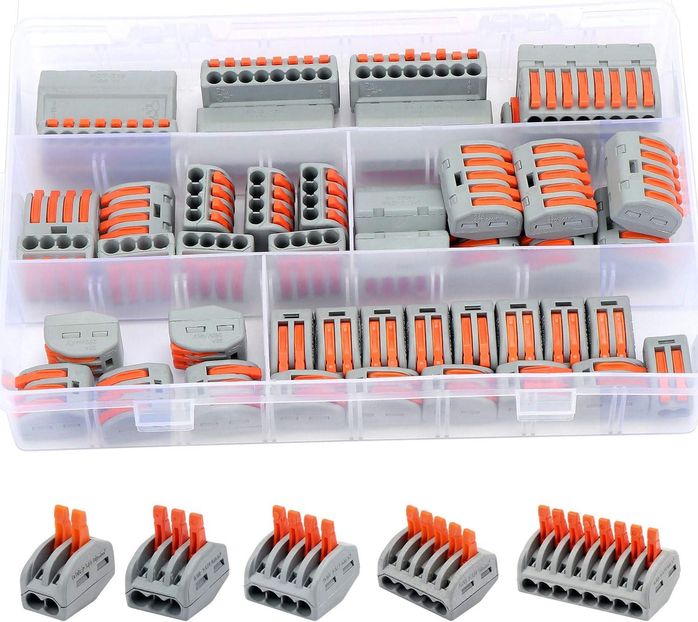 bornes conductrices /à /écrou /à levier WiMas Lot de 60 connecteurs de fils compacts connecteur de c/âble /à pression avec 1 d/énudeur 2, 3, 4, 5, 8 ports