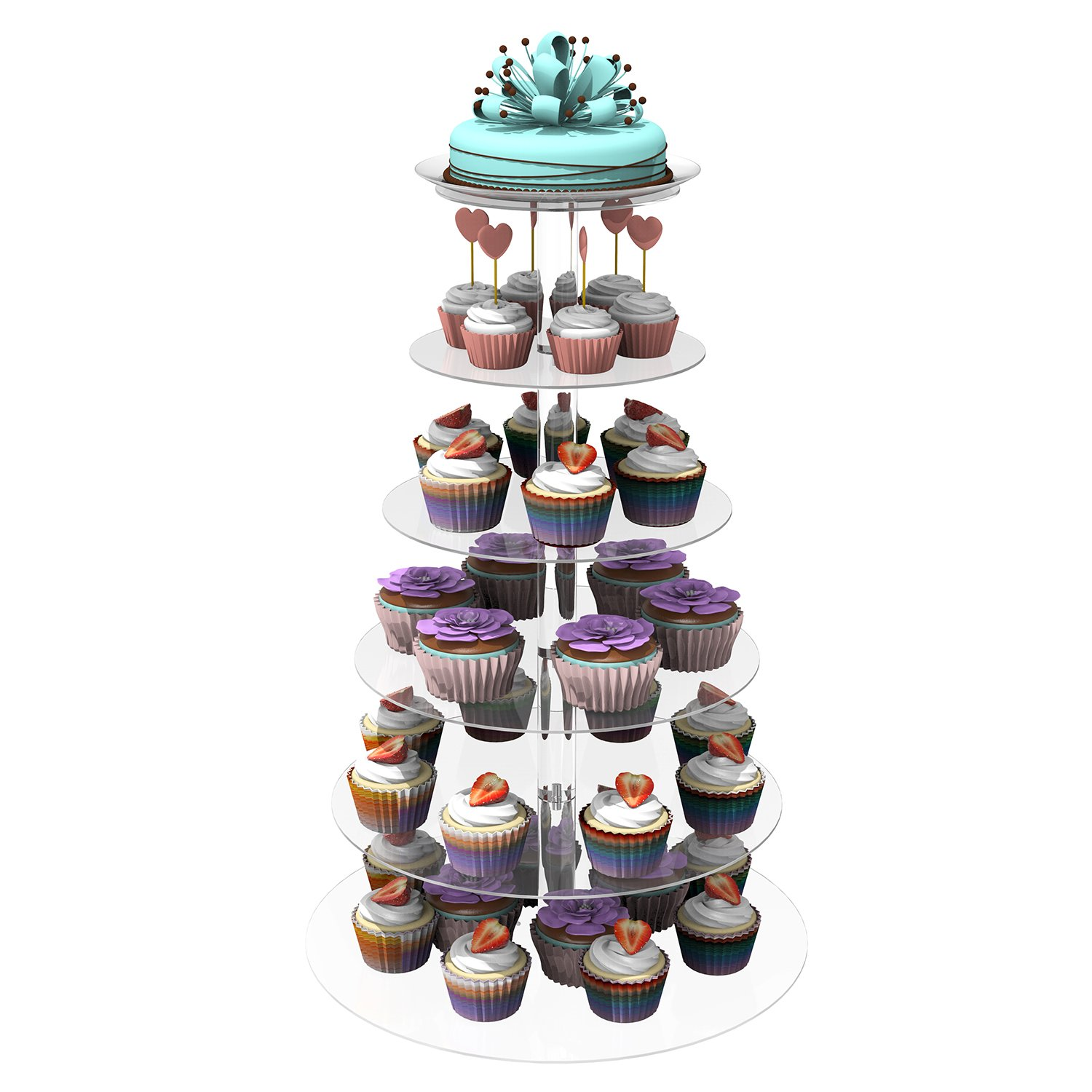 Homdox 6 Tier Cupcake Stand Pastry Stand Cake Dessert Holder Cupcake Tower Wedding Party