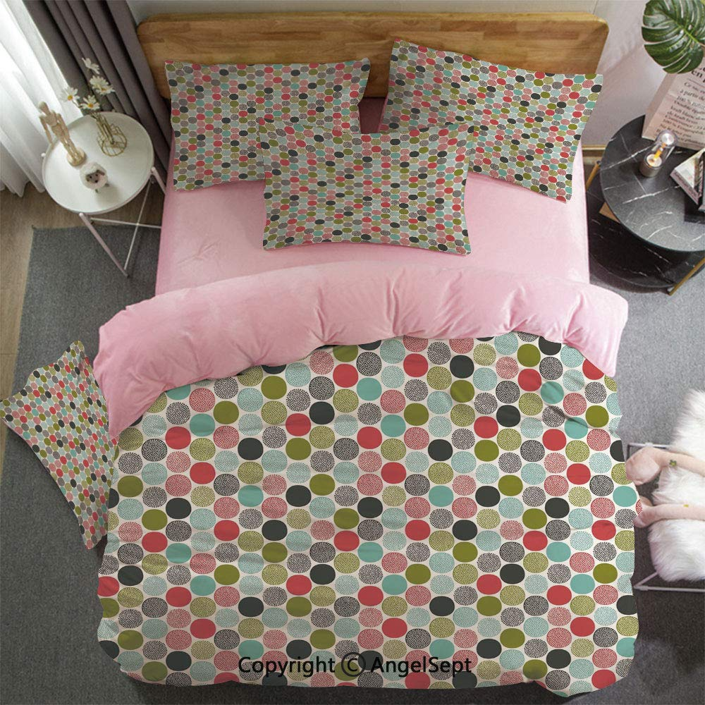 3 Piece Twin Bed Set Includes Reversible Comforter & Sheet Set Abstract Circles And Dots Doodle Style Retro Fashion Fun Childish Cheerful Cute Decorativecolor Super Soft Fade Resistant Pink for Girl