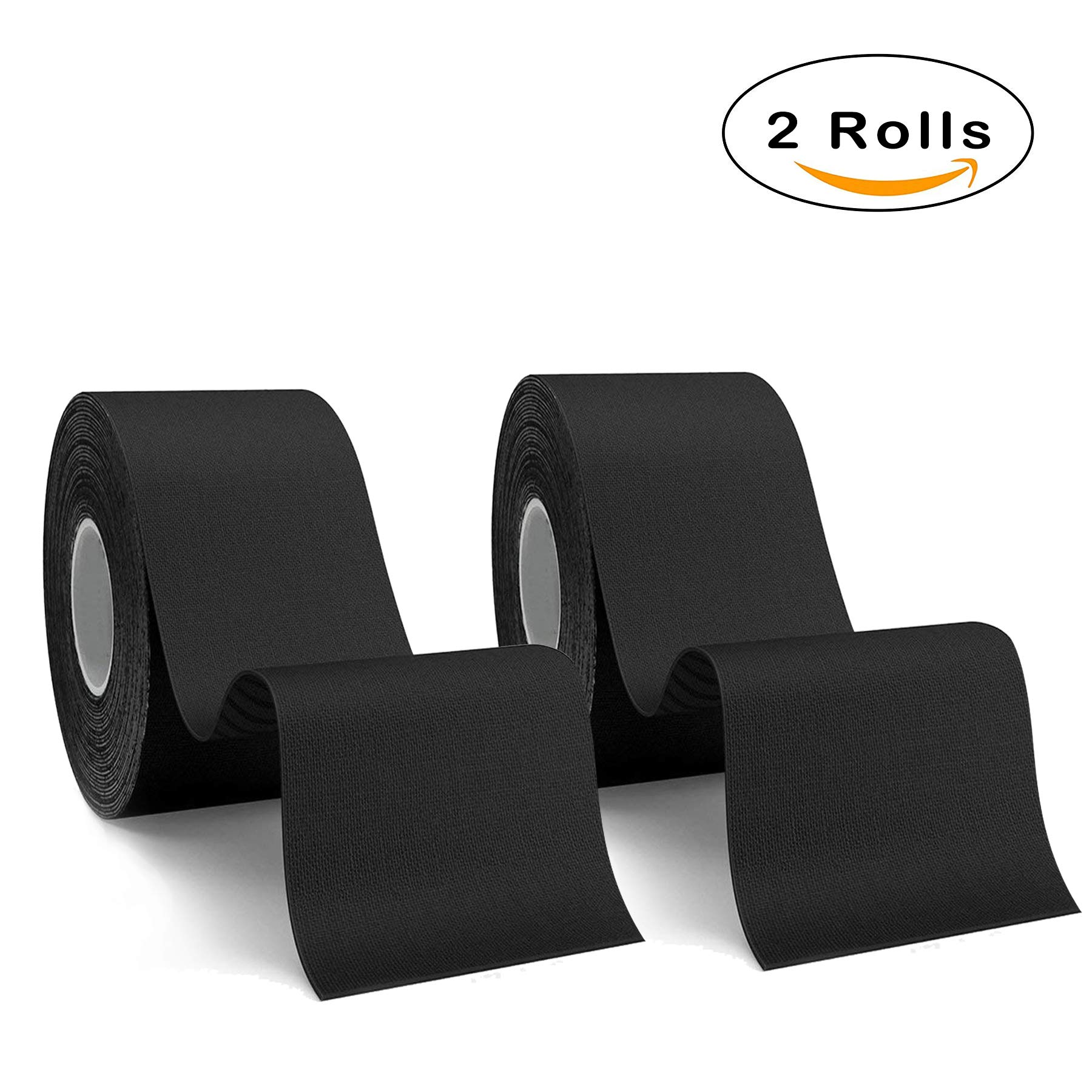 Kinesiology Tape Muscle Support Adhesive Tape 2 Rolls Pack Elastic Therapeutic Sports Tape for Knee Wrist Shoulder Elbow,Waterproof,Breathable,2''*2'' per Poll (Black)