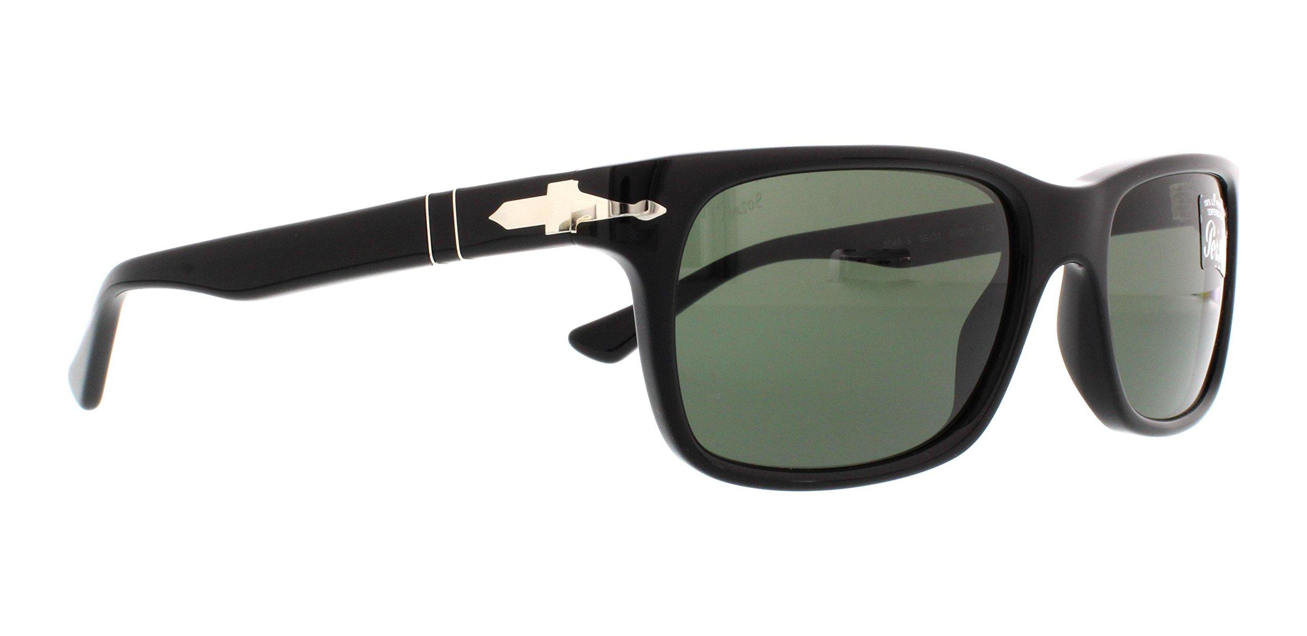 Persol Men's PO3048S Sunglasses Black/Crystal Green 55mm