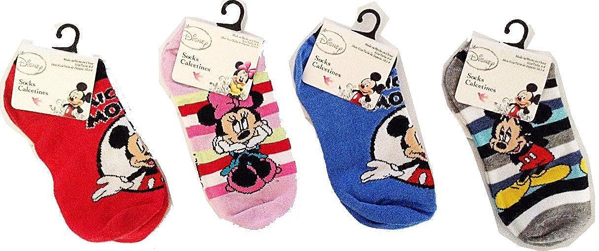 Amazon.com: Disney Mickey & Minnie Anklet Socks Size 4-6, 4 Pairs: Clothing