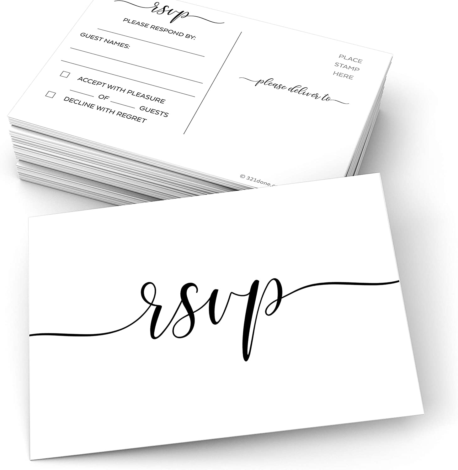"""321Done RSVP Postcards (Set of 50) Small White 3.5"""" x 5"""" - Blank of Blank Guests, USPS Post Office Addressing Response Cards for Wedding, Bridal Shower, Baby Shower - Made in USA - Formal Elegant"""