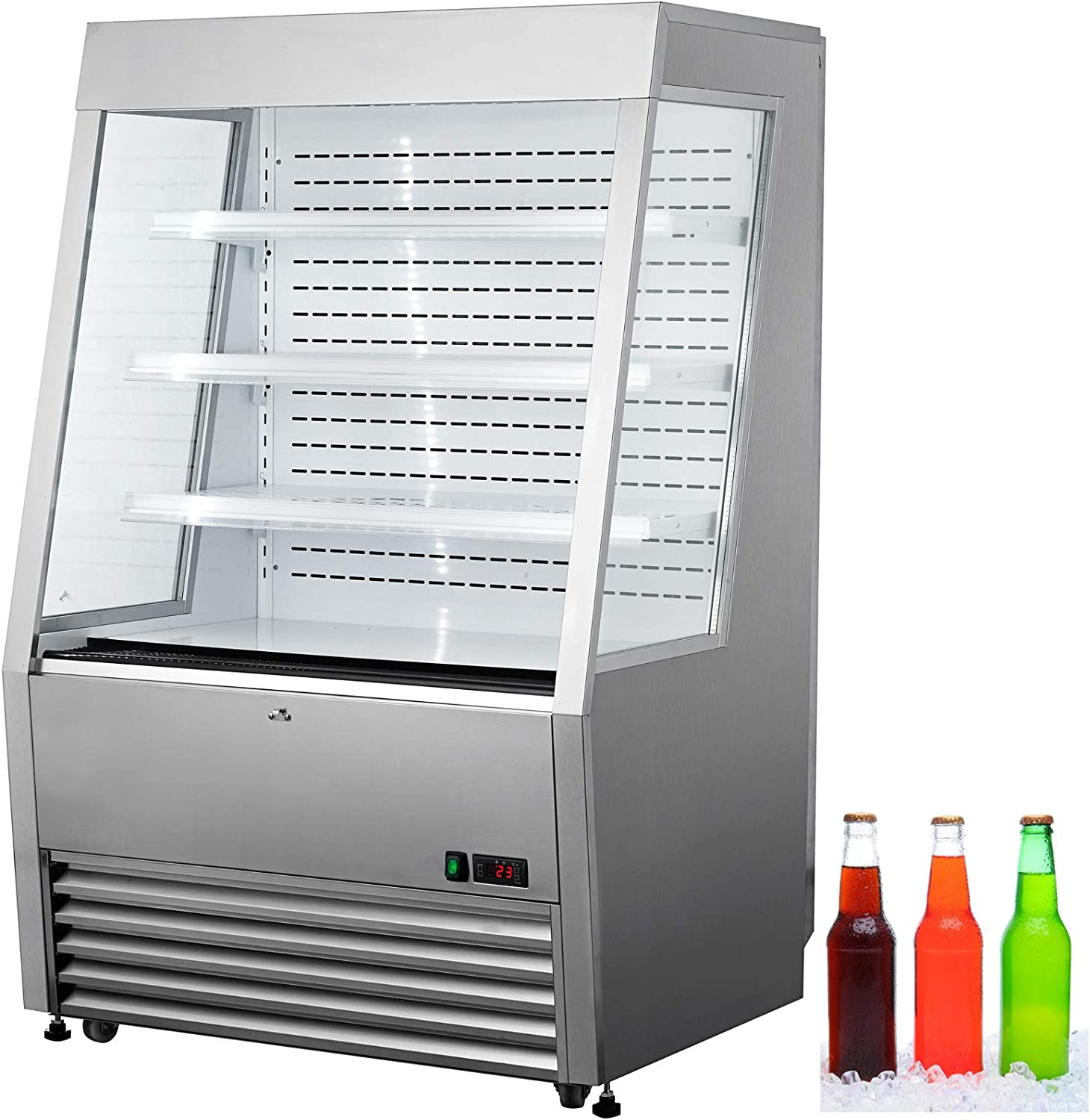 VBENLEM 36 inchs Stainless Steel Intelligent Self Contained Open Refrigerated Display Case 390L Commercial Display Cooler Case with LED Light Suit for Shop Supermarket Restaurant
