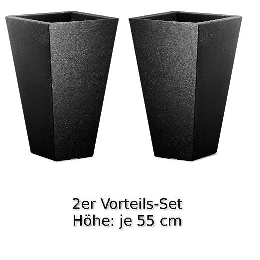 Höhe je 55 cm, Vorteils-Set 2x Pflanzkübel Kunststoff groß schwarz ...
