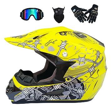 MJW Adulto Motocross Casco/Gafas/Máscara/Guantes Moto Casco,M