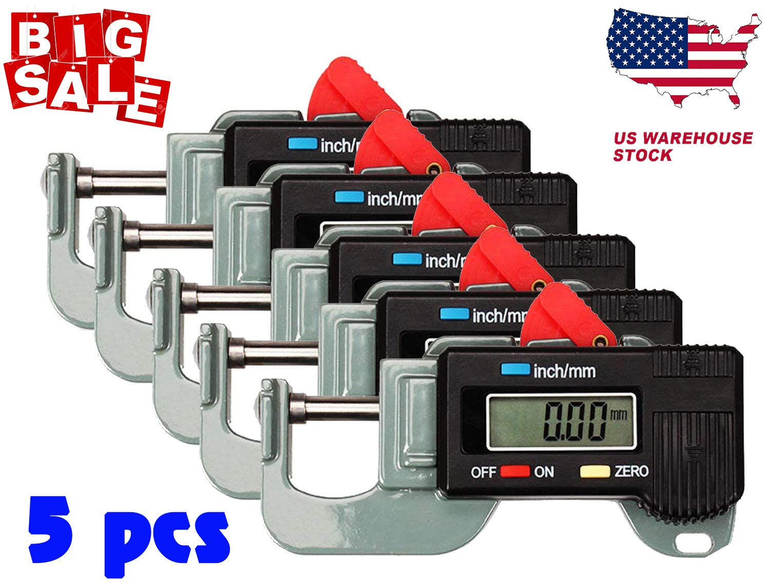 1/3/5PCS Portable Precise Digital Thickness Gauge Meter Tester Micrometer 0 to 12.7m Caliper (5PCS)